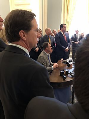 Don Spencer, looking at Constitutional Signing Ceremony by Oklahoma Governor Stitt