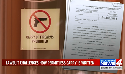Injunction on door along with carry of firearms prohibited sign