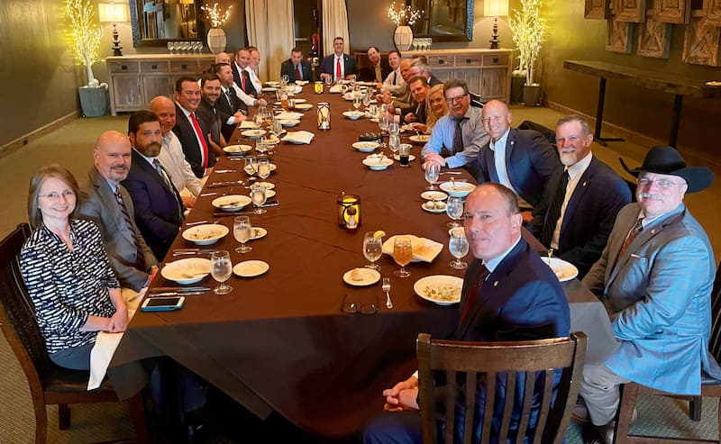 Oklahoma Legislators along with Kevin Stitt at a dinner