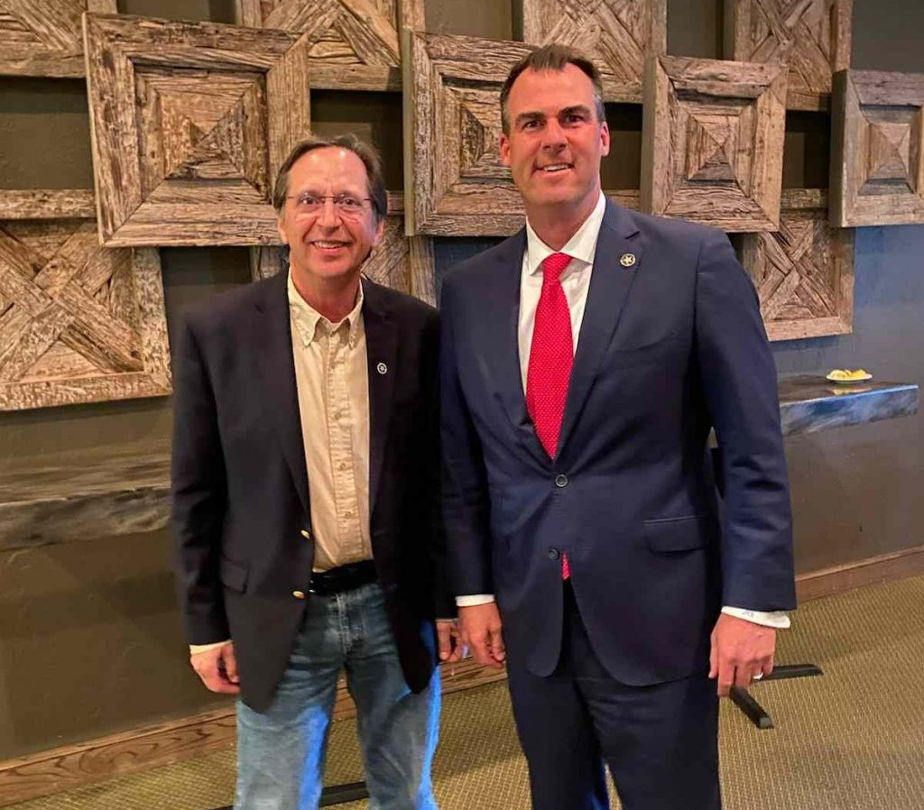Don Spencer, President of OK2A along with Governor Kevin Stitt